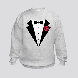 Funny Tuxedo [red rose] Kids Sweatshirt